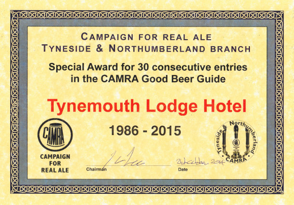 Tyneside & Northumberland CAMRA Branch 30 Years in the GOOD BEER GUIDE award certificate