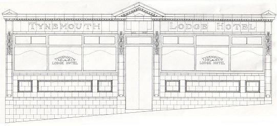 Line drawing of pub